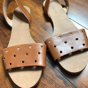 Madwell Hole Punch Leather Sandals, Size 8